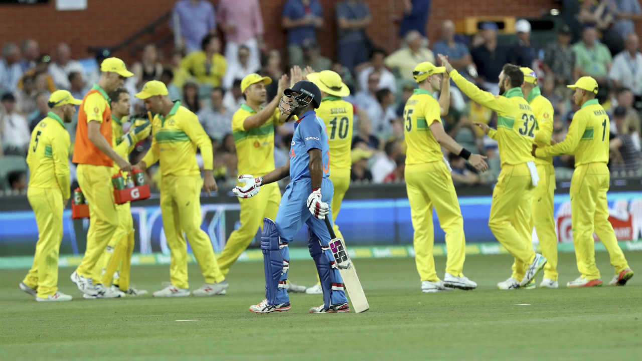 Following Rohit's dismissal, Ambati Rayudu shared a 59-run partnership with Kohli. The Indian no. 4 however, never looked comfortable at the crease and was finally dismissed in the 31st over. Rayudu mistimed a shot off Glenn Maxwell's bowling, holing out to Stoinis at deep midwicket. (Image: AP)