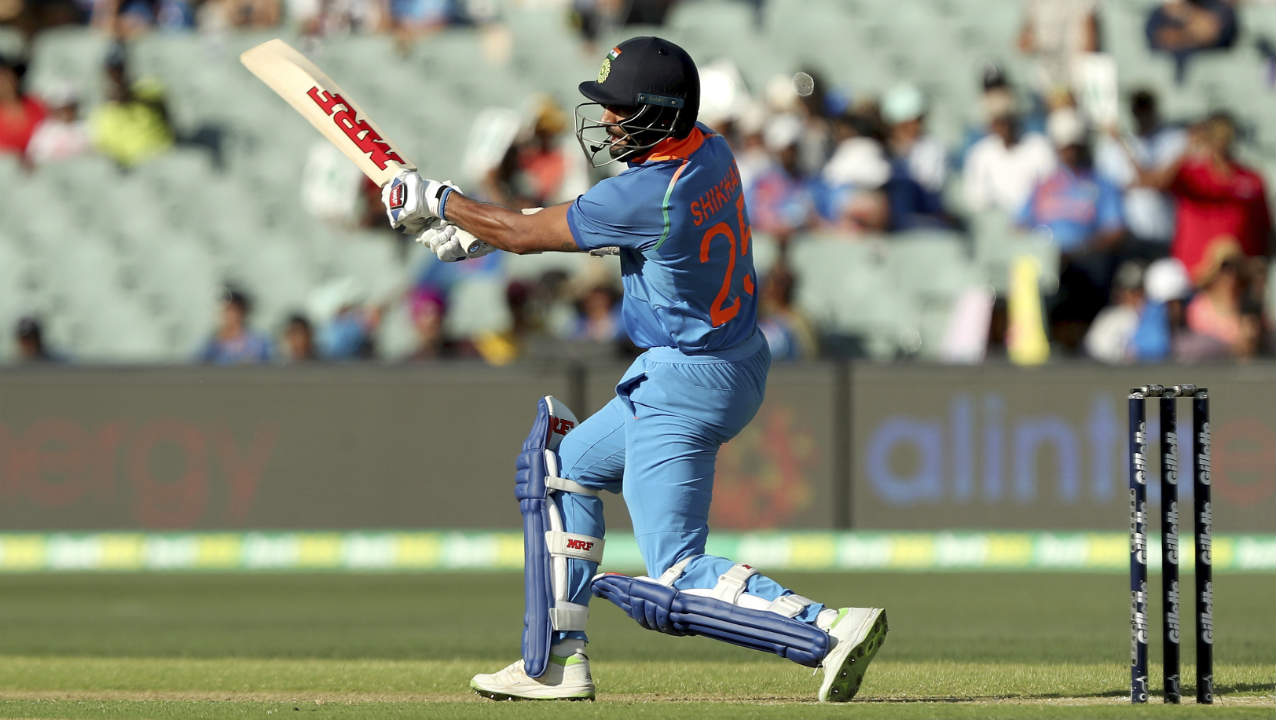 Openers Rohit Sharma and Shikhar Dhawan got India off to a quick start with a 47-run partnership. Dhawan did the bulk of the scoring adding 32 off 28 balls before throwing away his wicket in the 8th over. He mistimed a shot off Jason Behrendorff's bowling sending it high up in the air and Usman Khawaja made no mistake taking the catch at mid-off. (Image: AP)