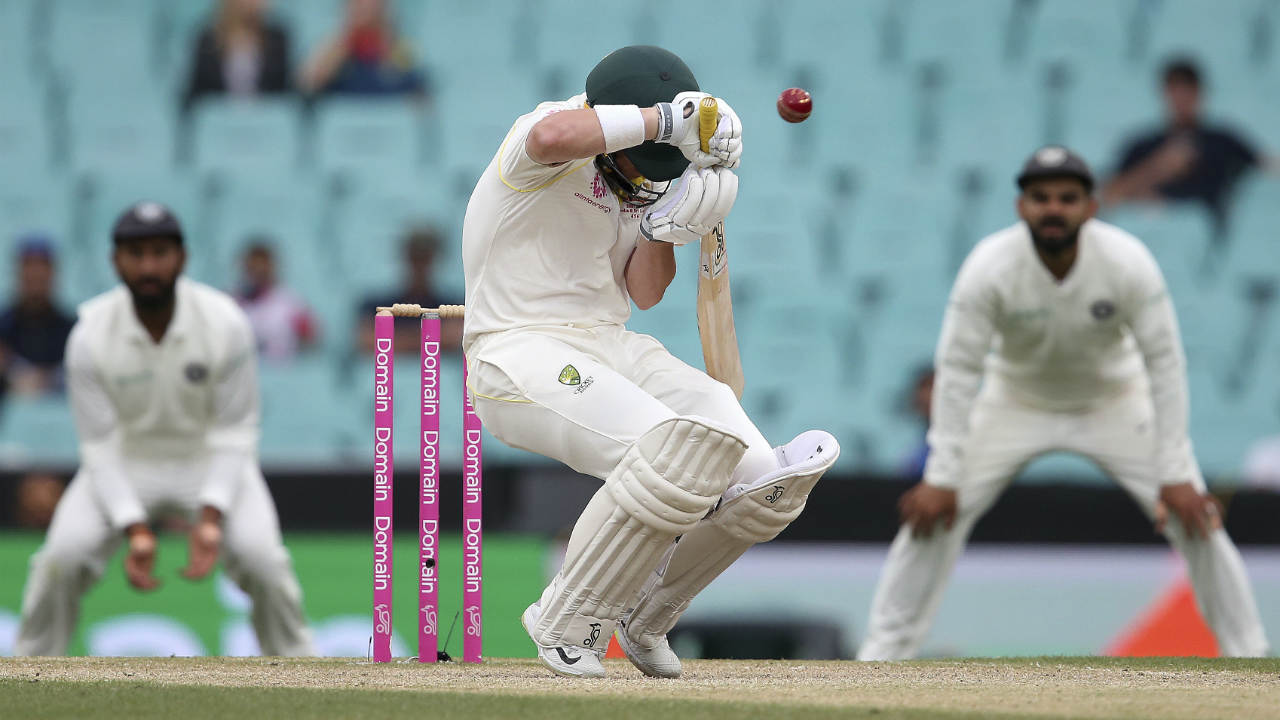 Aussie openers Usman Khawaja and Marcus Harris could add only 6 runs to the board before an early Tea was taken because of bad light. The start of the final session was further delayed as the light situation at the ground showed no signs of improving. The umpires finally called an end to the day's play with Australia 6/0 at Stumps, still trailing India by 316 runs. (Image: AP)