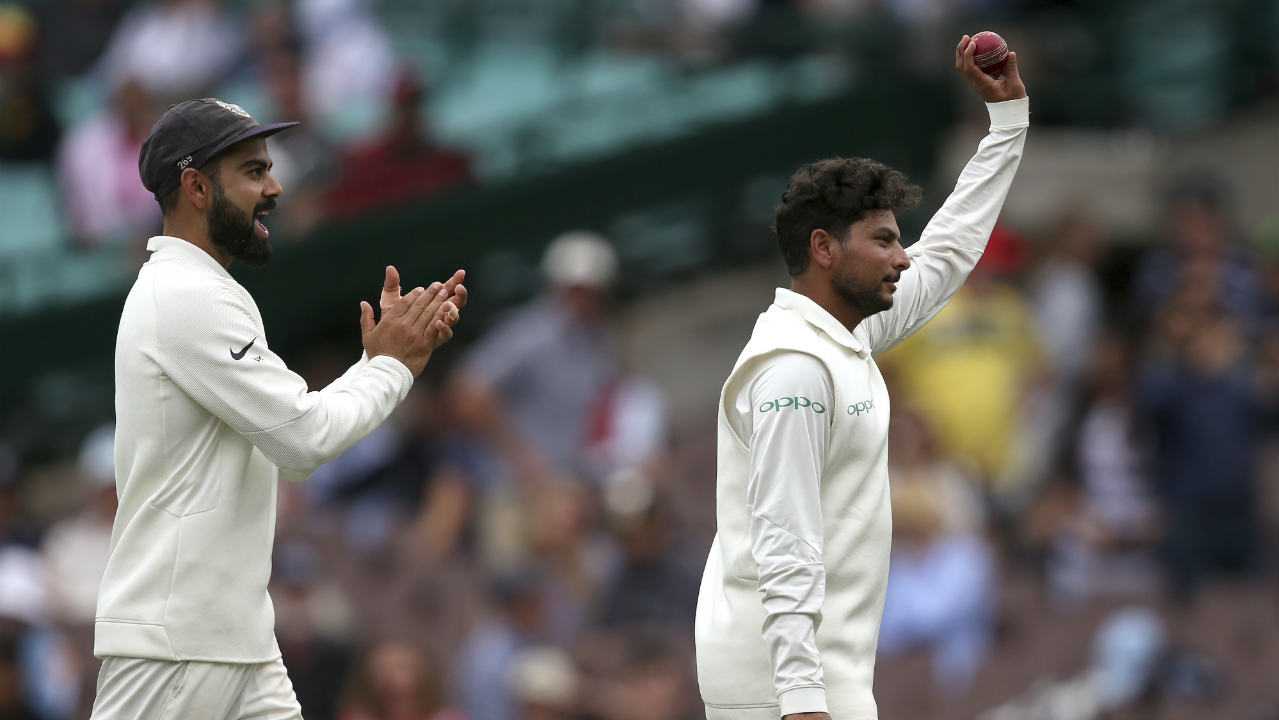 Hazlewood and Starc went on to add 42 runs for the final wicket before Kuldeep returned to complete his five-wicket haul. The crafty spinner trapped Hazlewood in front of the wickets in the 105th over thus ending with figures of 31.5-6-88-5. Having bowled out the Aussies for just 300 runs, Virat Kohli opted to enforce the follow-on. It was the first time in 31 years that Australia was following on in a Test at home. (Image: AP)