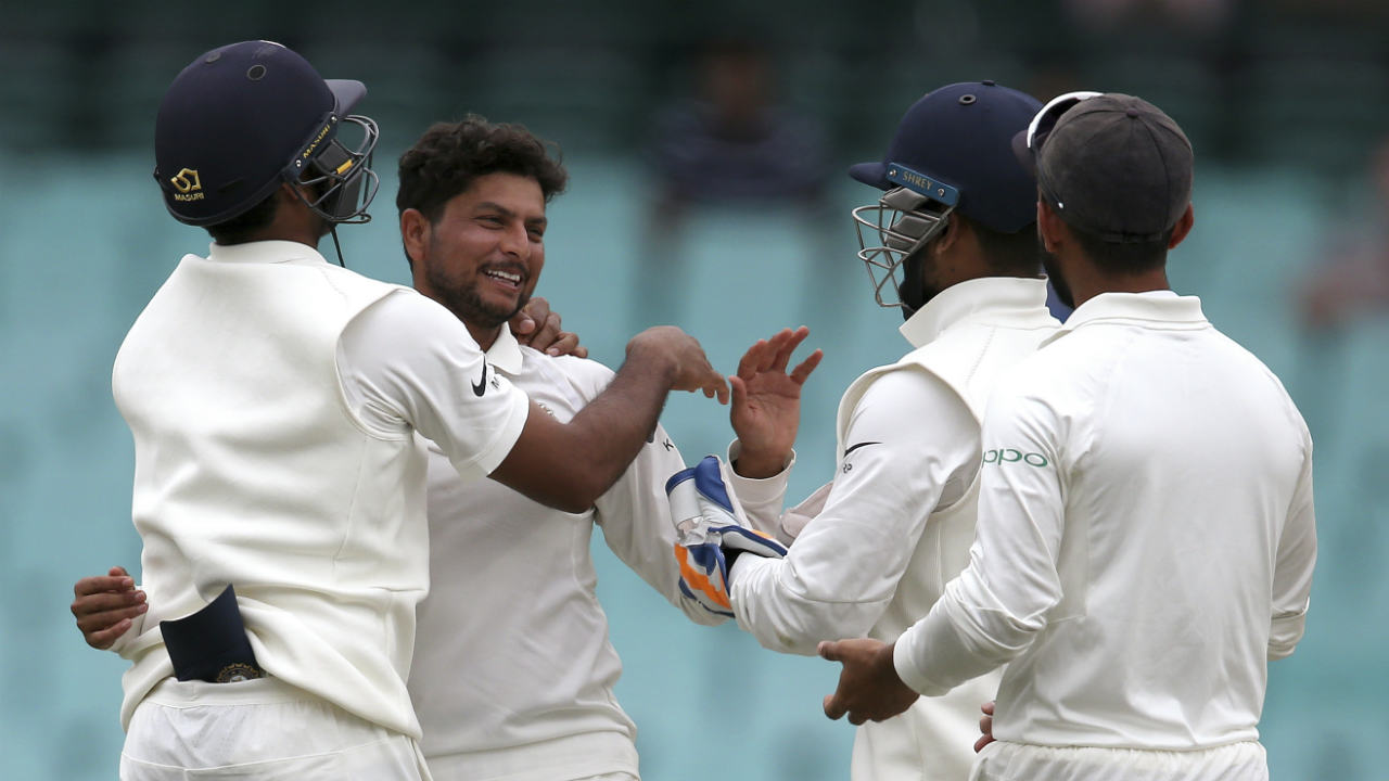 Kuldeep Yadav then picked up his fourth wicket of the innings in the very next over as he trapped Nathan Lyon LBW. Lyon returned for a duck having faced just five deliveries. Kuldeep got Josh Hazlewood to top-edge a delivery high towards mid-on in the 93rd over but Hanuma Vihari dropped what should've been an easy catch. (Image: AP)