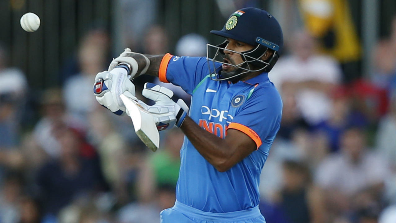 Dhawan was lucky in the 12th over when he top-edged a Bracewell delivery high towards square leg but wicketkeeper Tom Latham who called for it couldn't get there in time and dropped a good opportunity. Dhawan went on to register his first fifty after nine ODI innings in the 23rd over. His half-century came off 69 balls. (Image: AP)