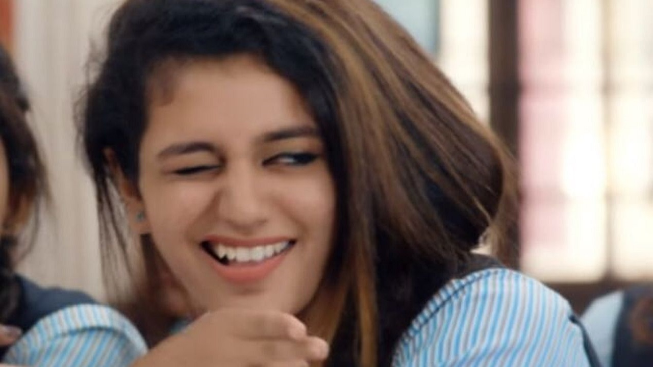 Priya Prakash Varrier | The Malayalam actress whose wink in the song Manikya Malaraya Poovi became a viral sensation was in the second spot. (Image: Twitter/@PriyaPVarrier)
