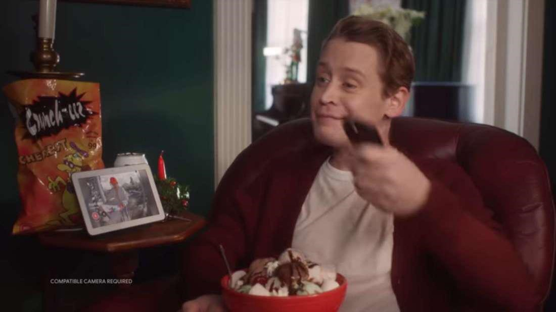 Q7. Here is the boy/man from 'Home Alone' again. He is promoting which specific product?