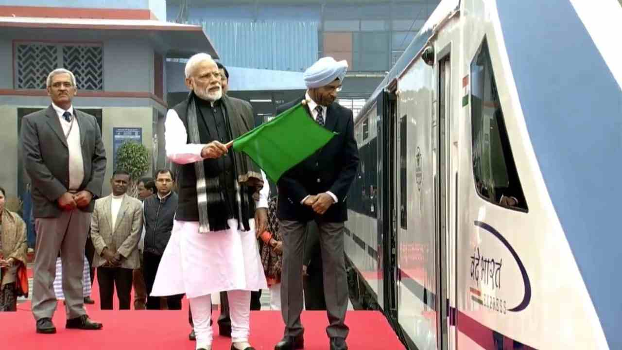 Vandhe Bharat Express, also known as Train 18, was launched from New Delhi Railway Station on February 15 by PM Modi. (Image: BJP Twitter)