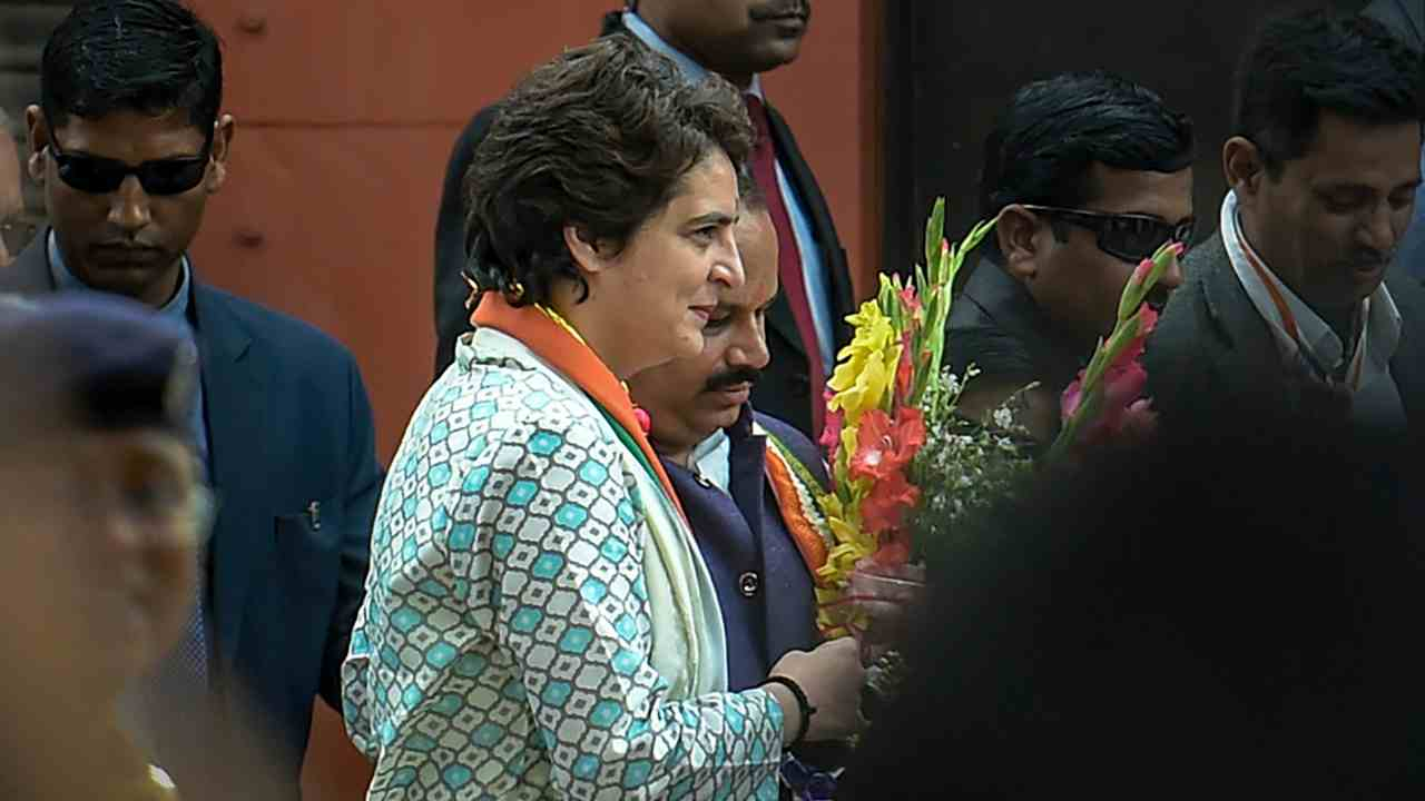 All India Congress Committee (AICC) General Secretary of Uttar Pradesh East, Priyanka Gandhi Vadra, arrives for a road show, in Lucknow. (PTI)
