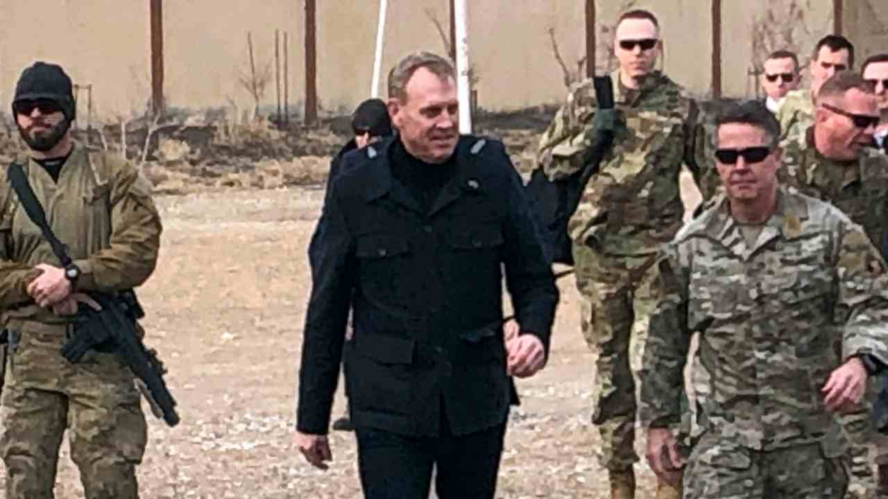 US Acting Defense Secretary Pat Shanahan arrives in Kabul, Afghanistan to consult with Army Gen. Scott Miller, right, commander of US and coalition forces, and senior Afghan government leaders. (AP/PTI)