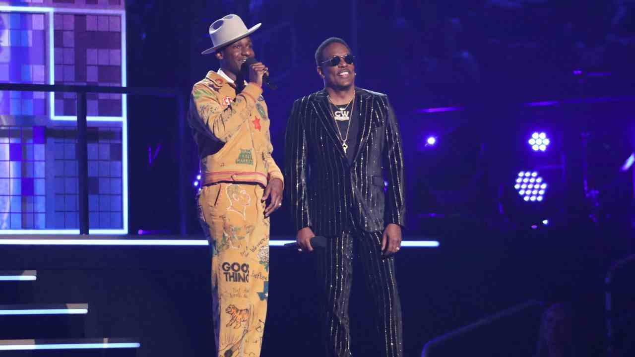 Leon Bridges, left, and Charlie Wilson introduce a performance at the 61st annual Grammy Awards in Los Angeles. (AP/PTI)