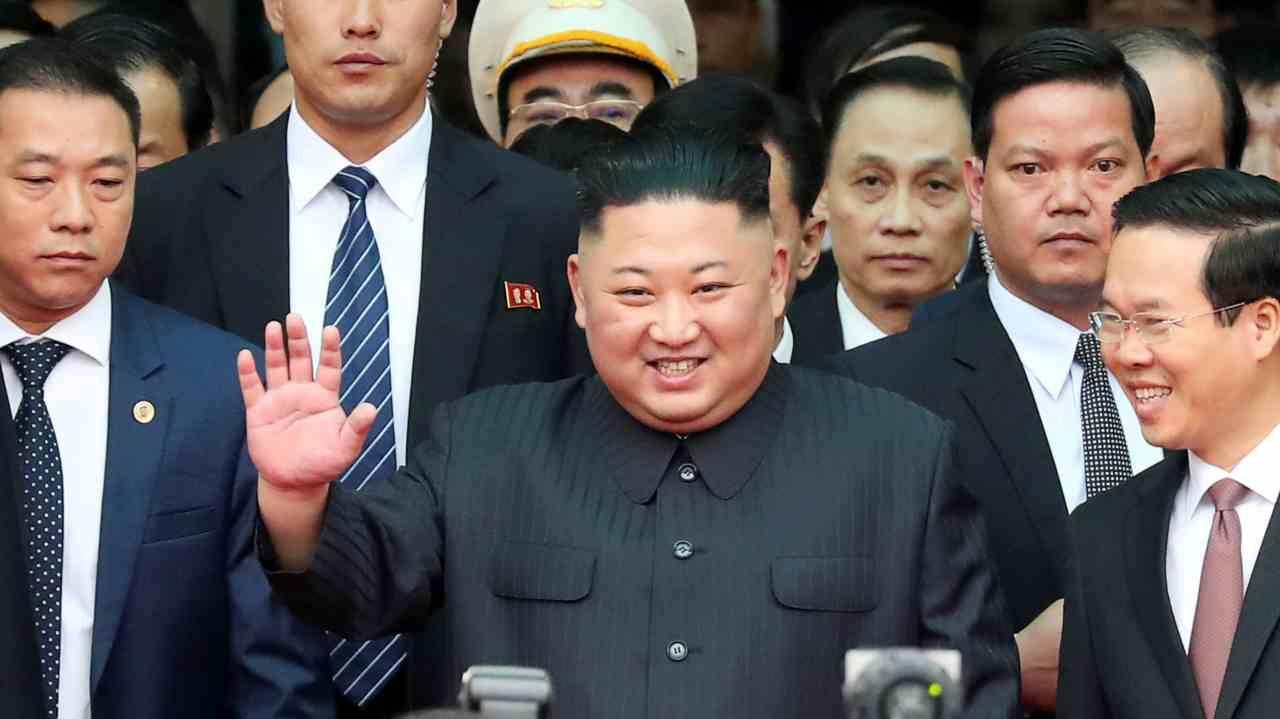 North Korea's leader Kim Jong Un waves as he arrives at the Dong Dang railway station, Vietnam, at the border with China. (Image: Reuters)