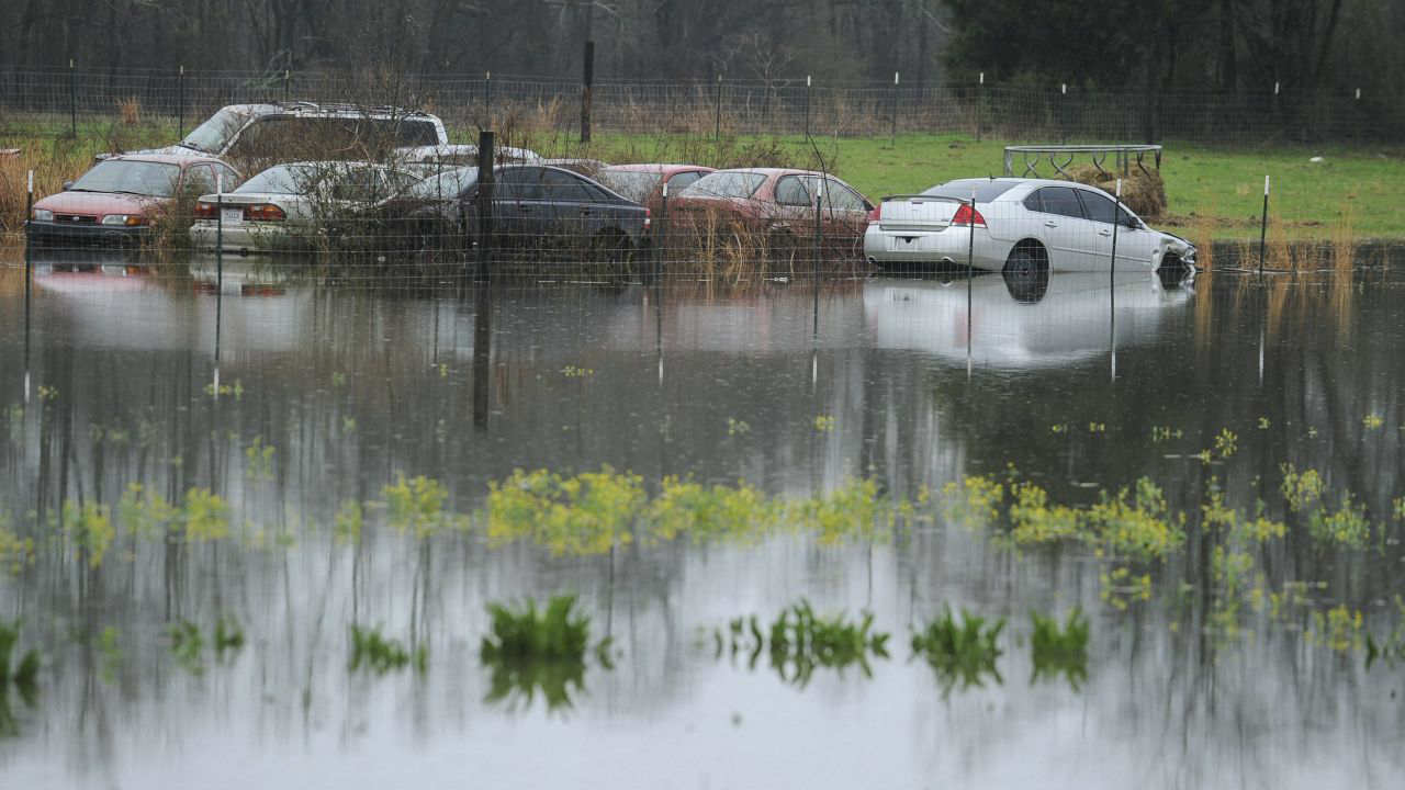 A backyard on Pryor Road in Limestone County is flooded in Decatur, Ala. More than 30 school districts in Alabama, Mississippi and Tennessee closed Friday, in part because school buses couldn't navigate flooded roads. (AP/PTI)