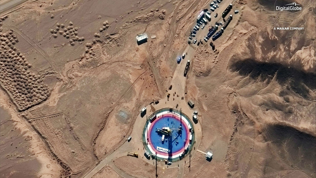 This satellite photo shows a missile on a launch pad and activity at the Imam Khomeini Space Center in Semnan province, Iran. Iran appears to have attempted a second satellite launch despite US criticism that its space program helps it develop ballistic missiles, images released in February 7 suggest. Iran has not acknowledged conducting such a launch. (Image: DigitalGlobe via AP/PTI)
