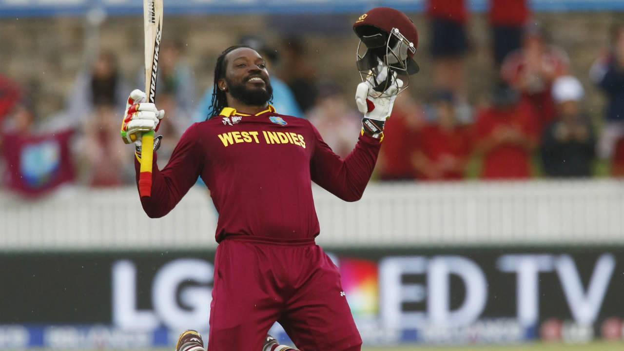 In 2015, Chris Gayle became the first man to hit a double-hundred in a World Cup match. The occasion came when he hammered 215 against Zimbabwe. (Image: Reuters)