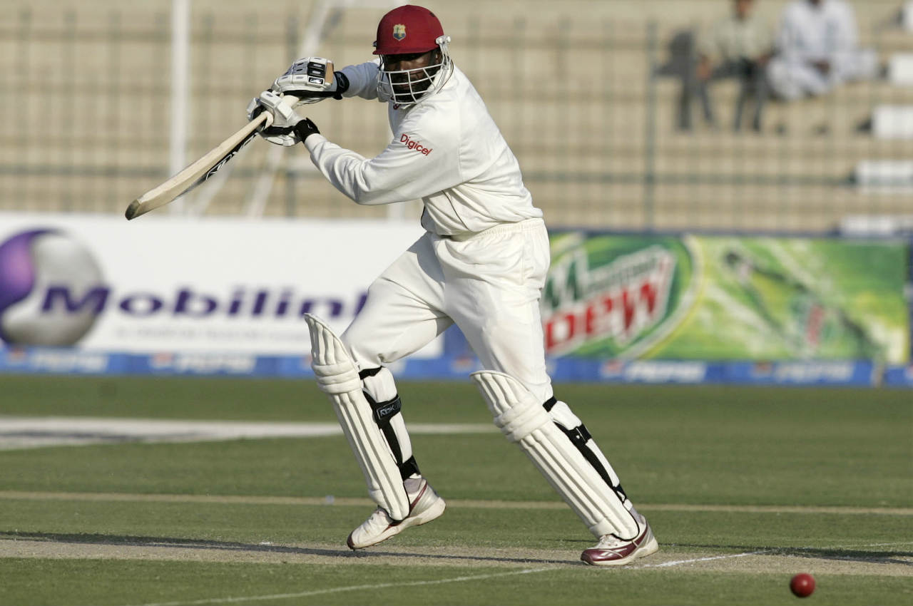 Chris Gayle is the first player to hit all 6 balls in an over for four in Test cricket. The moment happened when he hit former England pacer Matthew Hoggard for 6 4s in a Test in 2004. (Image: Reuters)