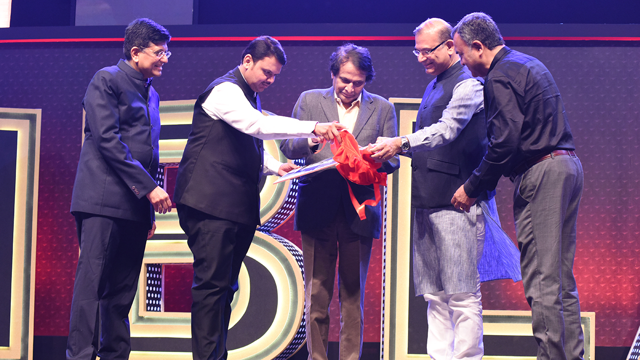 Union Ministers Suresh Prabhu and Piyush Goyal, Maharashtra CM Devendra Fadnavis and Minister of State for Civil Aviation Jayant Sinha at CNBC-TV18 Indian Business Leader Awards.