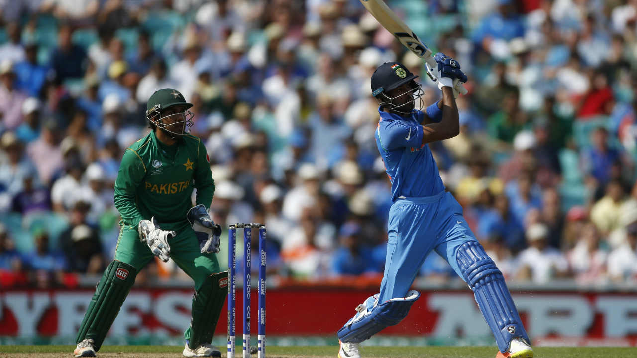 ardik Pandya India v Pakistan, Champions Trophy final, June 18 2017, The Oval | Pakistan batting first in the Champions Trophy final posted a huge total of 338/4 thanks to the efforts of Azhar Ali (59), Fakhar Zaman (114) and Mohammed Hafeez (57). Indian chase began on a horrible note with India being reduced to 72/6. Fighting for India's cause were all-rounders Hardik Pandya and Ravindra Jadeja. Shadab Khan stepped up to bowl the 23rd over. On strike was Hardik Pandya. First ball was tossed up and Pandya swung his bat with full force to send the ball over cow corner for the first six of the over. Under pressure, Khan bowled the second ball within Pandya's swinging range and the batsman obliged by hitting the ball over the long-on rope for the second six. On 48, Pandya hit the third ball of the over for third straight six to complete his fifty. The fourth ball of the over was creamed for a boundary through extra-cover. Pandya's beastly hitting almost revived India's chances. But a mix-up between the two batsmen led to Pandya getting run-out on 76. India were all-out on 158. Pakistan won the match by a monumental margin of 180 runs to the coveted trophy. (Image: AP)