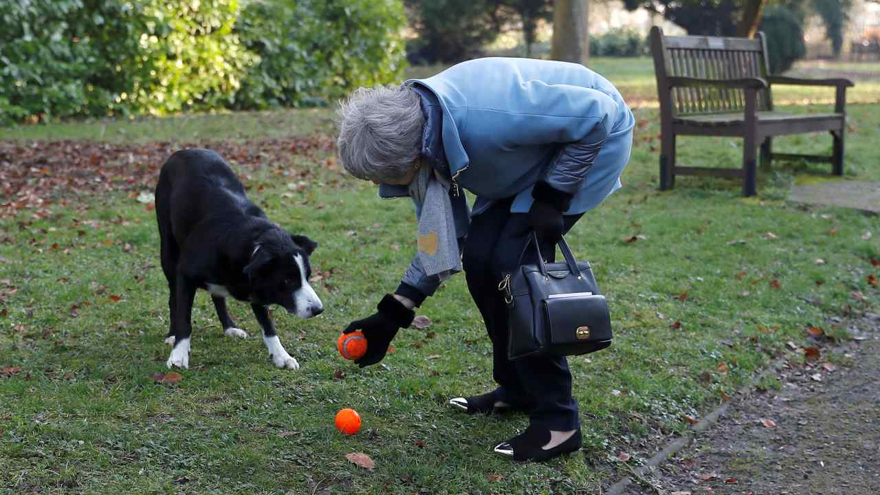 Britain's Prime Minister Theresa May plays ball with a dog as she leaves a church, near High Wycombe, Britain. (Image: Reuters)