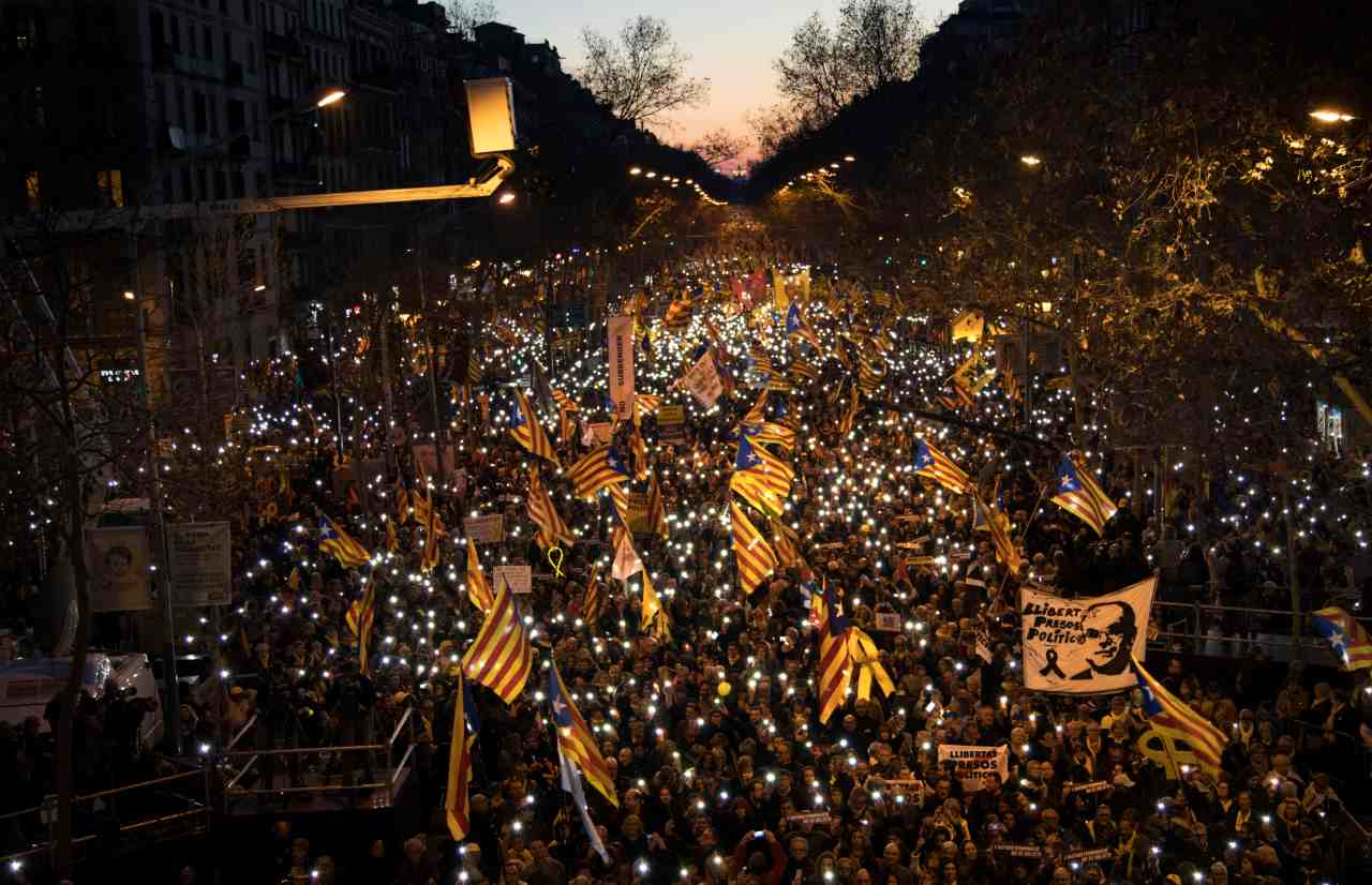 Pro-independence demonstrators march waving esteladas or independence flags, during a demonstration supporting the imprisoned pro-independence political leaders in Barcelona, Spain. Hundred of thousands of Catalan separatists are marching in Barcelona to proclaim the innocence of 12 of their leaders who are on trial for their role in a failed 2017 secession bid. (Image: AP)