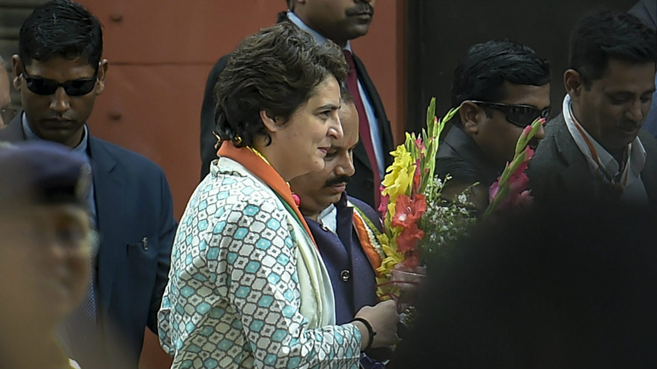 Priyanka Gandhi Vadra, arrives for a roadshow, in Lucknow, Uttar Pradesh. (Image: PTI)