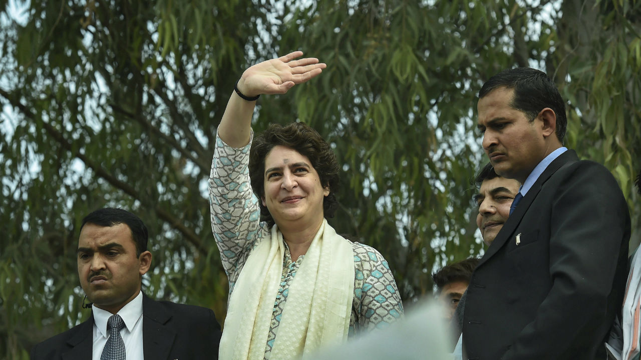 All India Congress Committee (AICC) General Secretary of Uttar Pradesh (East), Priyanka Gandhi Vadra, during a roadshow, in Lucknow, Uttar Pradesh. (Image: PTI)