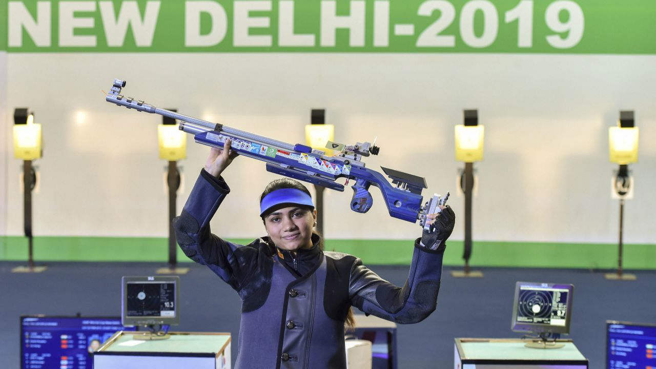 Indian shooter Apurvi Chandela celebrates after winning a gold medal in the final of women's 10m Air Rifle during the ISSF World Cup Rifle/Pistol. (PTI)