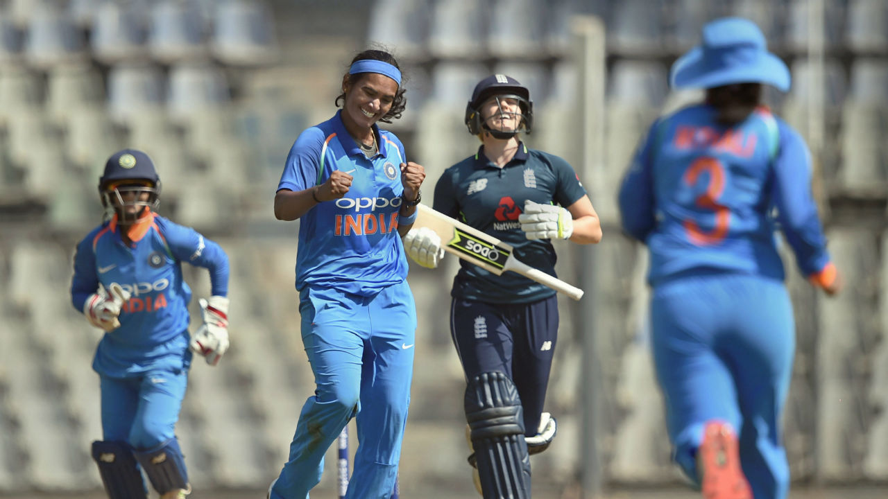 Indian player Shikha Pandey celebrates the dismissal of England's Katherine Brunt during the 2nd One Day International (ODI) cricket match, in Mumbai, Maharashtra. (Image: PTI)