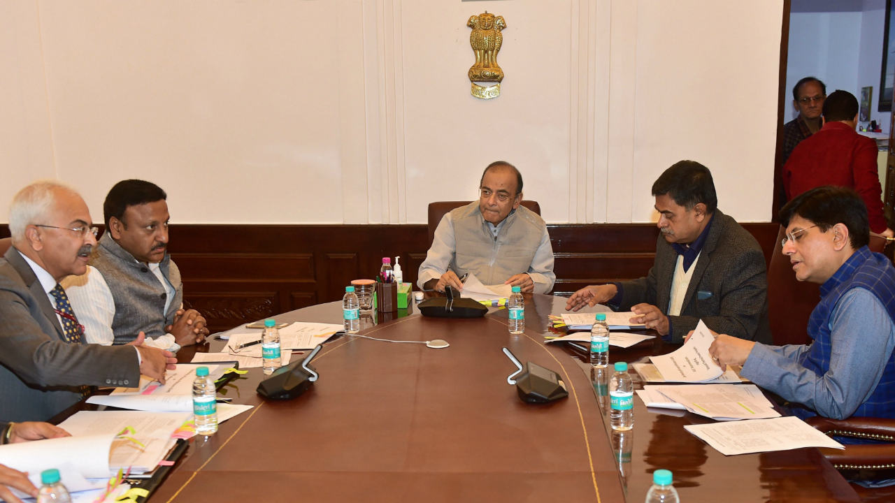 Finance Minister Arun Jaitley, Railway Minister Piyush Goyal, Minister of State for Power, New and Renewable Energy RK Singh and others during the Group of Ministers (GoM) Power meets, in New Delhi. (Image: PTI)