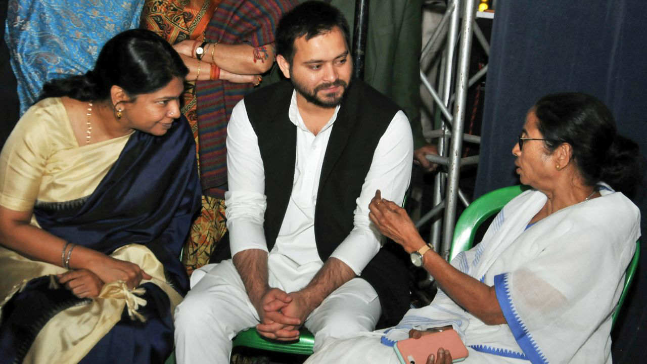 Prominent leaders like DMK's Kanimozhi and RJD's Tejashwi Yadav visited the dharna venue on February 4 to express solidarity with the firebrand Bengal leader. (PTI)