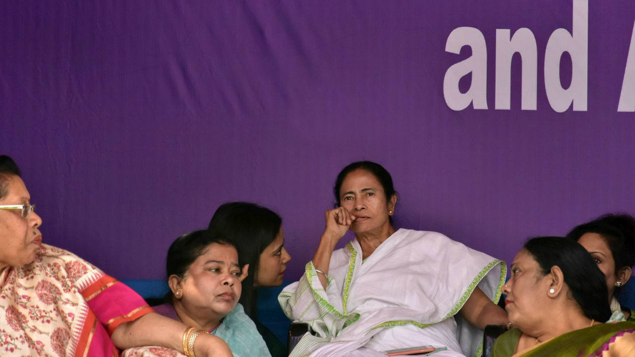Mamata Banerjee had said that her dharna would continue till February 8 in view of the upcoming boards examination. She has been discharging her official duties, including signing of papers, from the dais. (PTI)