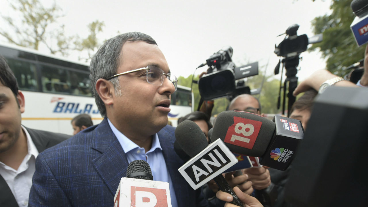 Karti Chidambaram, son of former finance minister P Chidambaram, arrives to appear before the Enforcement Directorate (ED) in connection with a money laundering case, in New Delhi. (Image: PTI)