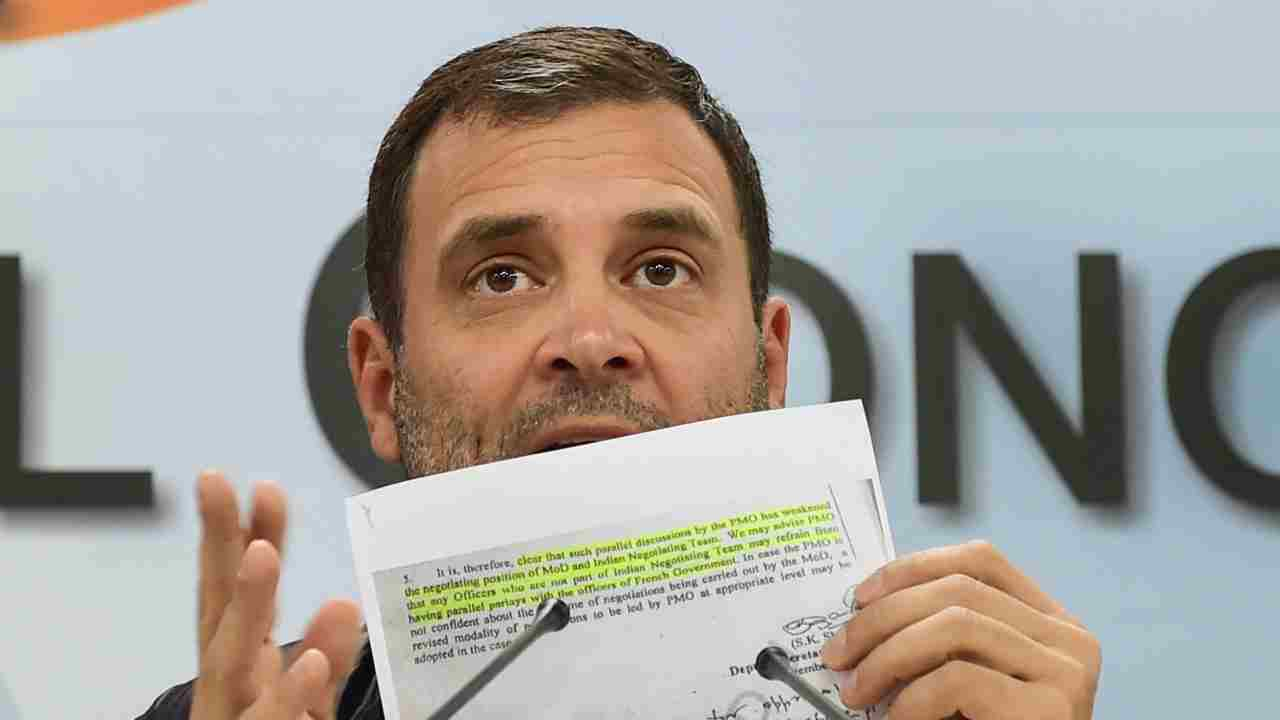 Congress President Rahul Gandhi addresses a press conference at AICC office, in New Delhi. (Image: PTI)