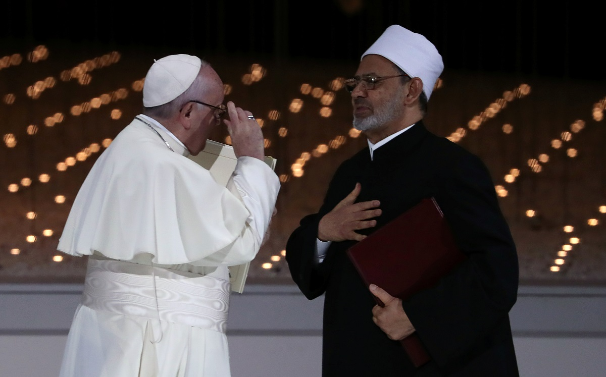 Pope Francis is greeted by Grand Imam of al-Azhar Sheikh Ahmed al-Tayeb in Abu Dhabi, United Arab Emirates on February 4, 2019. - Image: Reuters