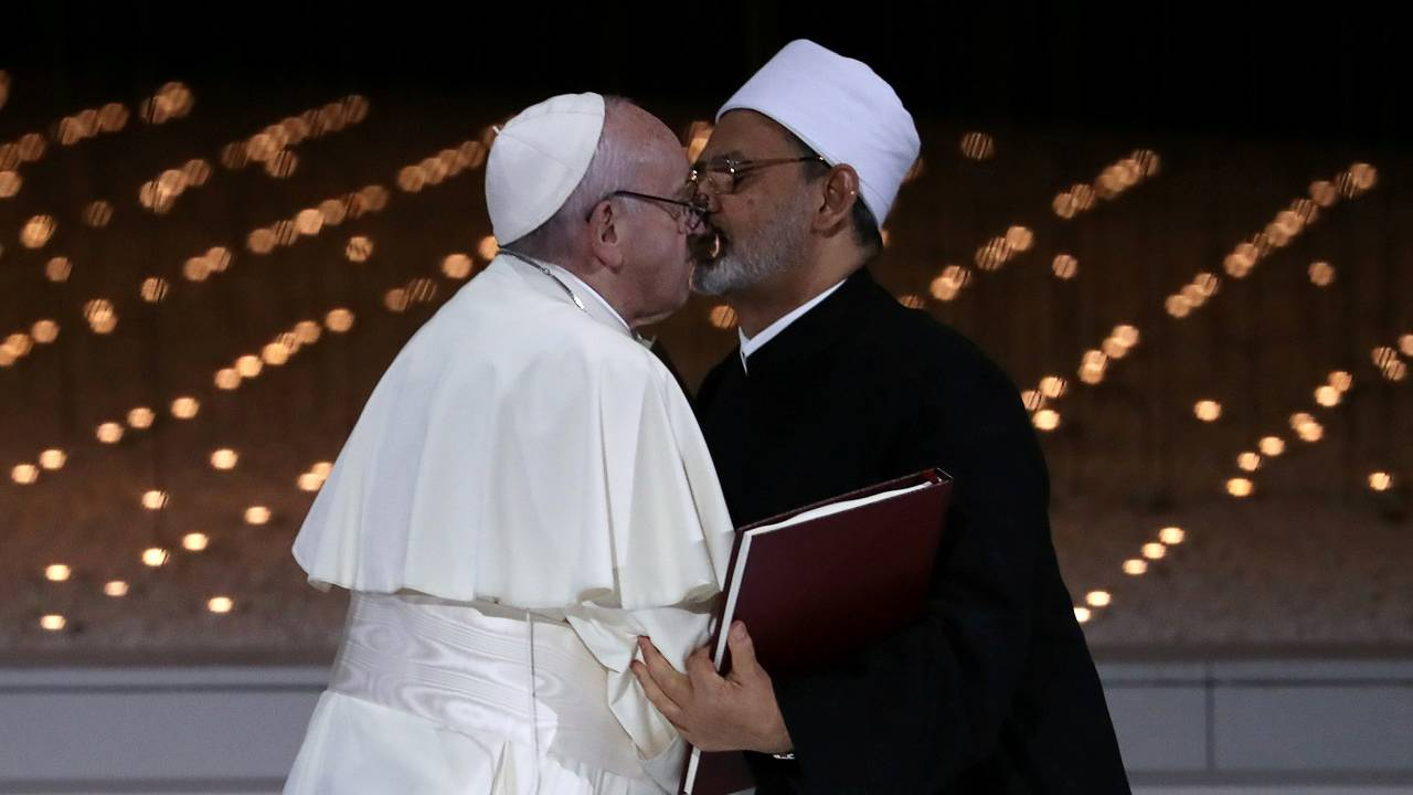 Pope Francis and Grand Imam of al-Azhar Sheikh Ahmed al-Tayeb kiss each other after signing a document on fighting extremism, during an inter-religious meeting at the Founder's Memorial in Abu Dhabi, United Arab Emirates on February 4, 2019. - Image: Reuters