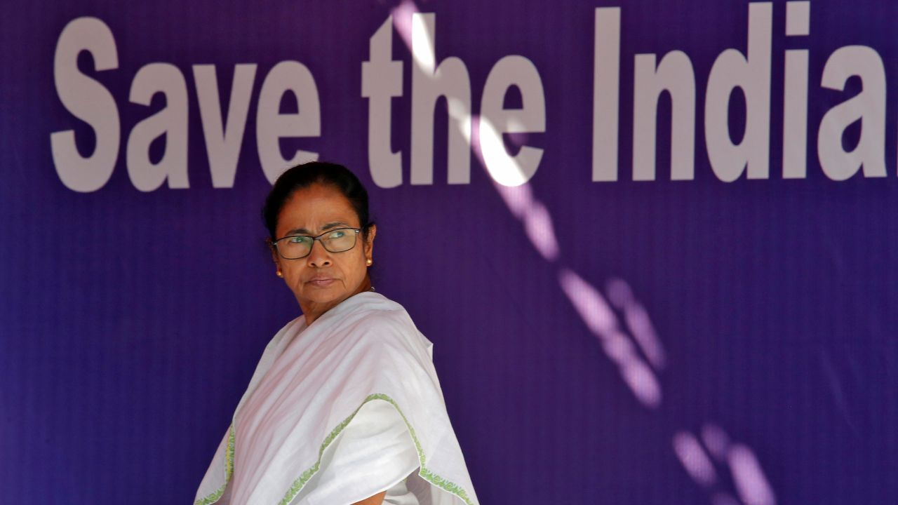 """Mamata Banerjee has described her protest as a non-political one and welcomed all anti-BJP parties into it. The dharna site, titled """"satyagraha mancha"""", has been devoid of any political colour. (Reuters)"""