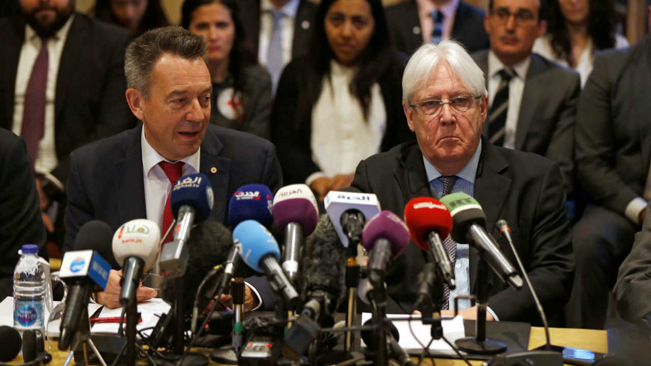 United Nations Special Envoy to Yemen Martin Griffiths and International Committee of the Red Cross President Peter Maurer speak to the media during a new round of talks by Yemen's warring parties on a prisoners swap deal, in Amman, Jordan. (Reuters)