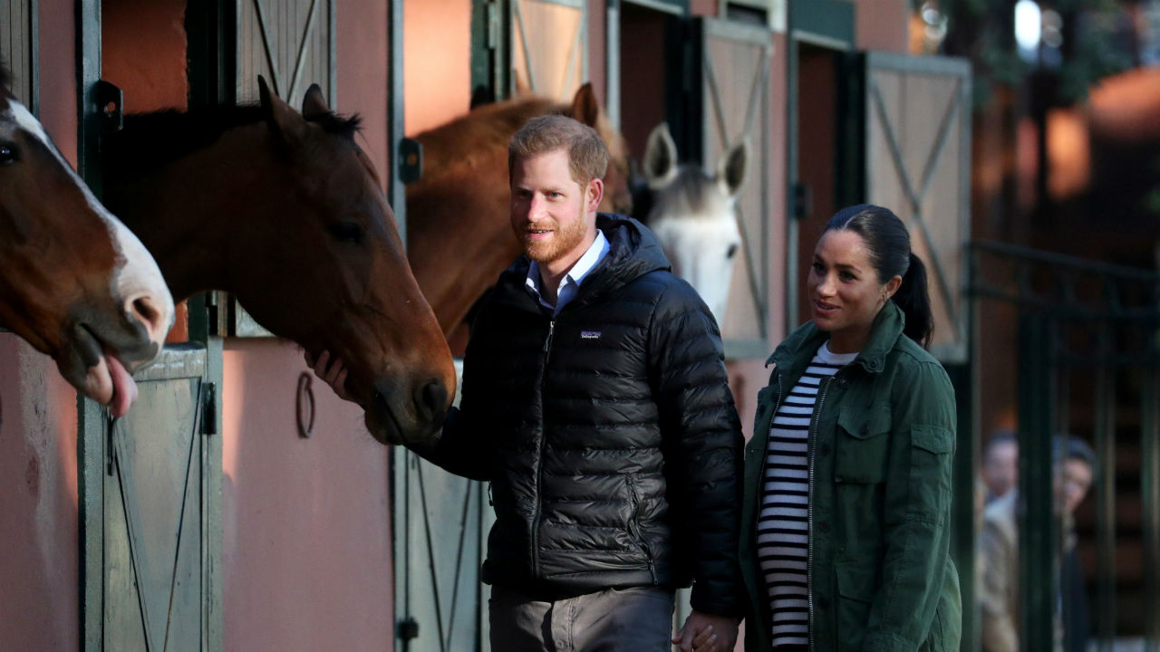 Britain's Prince Harry and Meghan, Duchess of Sussex, visit the Moroccan Royal Federation of Equitation Sports in Rabat, Morocco. (Image: Reuters)