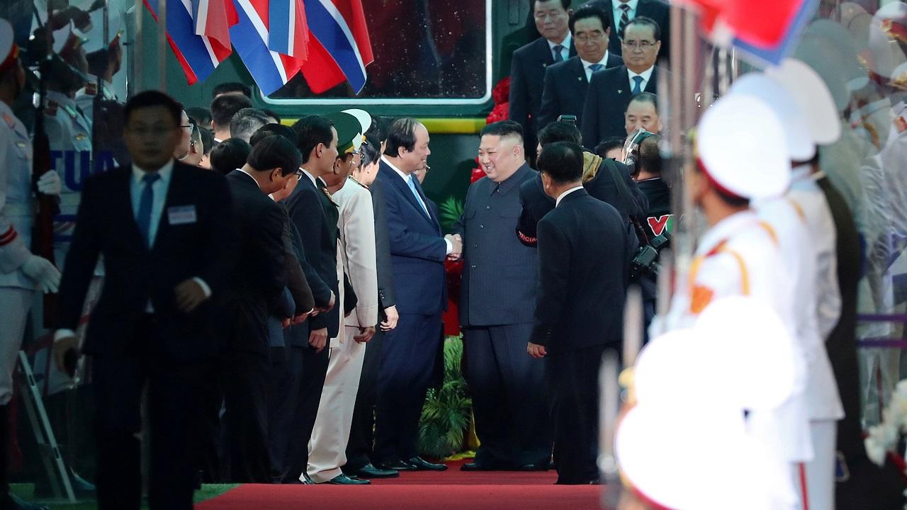 North Korea's leader Kim Jong Un arrives at the Dong Dang railway station, Vietnam. (Image: Reuters)