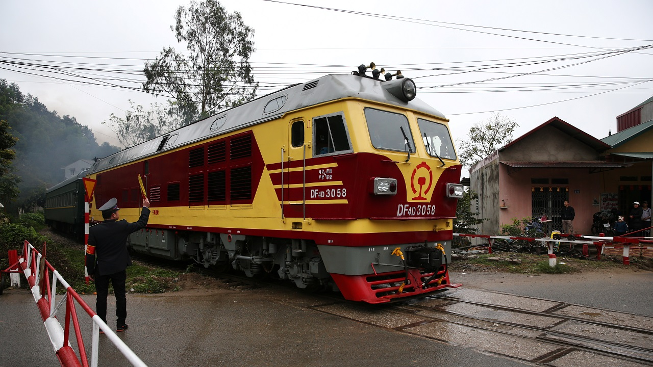 The train which transported North Korea's leader Kim Jong Un to Vietnam leaves Dong Dang railway station, Vietnam. (Image: Reuters)