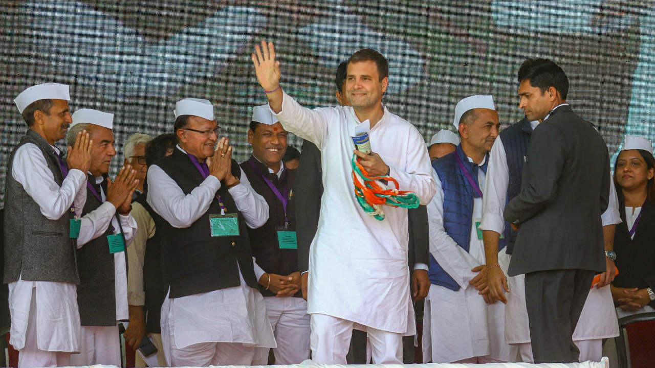 Congress President Rahul Gandhi during the All India Congress Seva Dal meet, in Ajmer. (Image: PTI)