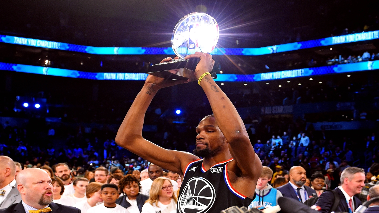 Team Lebron forward Kevin Durant of the Golden State Warrior (35) celebrates winning the MVP after the 2019 NBA All-Star Game at Spectrum Center. (Image: Reuters)