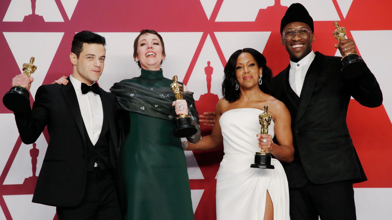 Best Actor Rami Malek, Best Actress Olivia Colman, Best Supporting Actress Regina King and Best Supporting Actor Mahershala Ali pose with their awards backstage. (Image: Reuters)