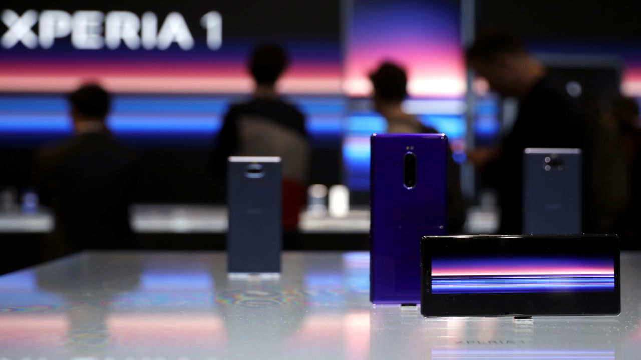 Sony Xperia1 devices are seen at the Mobile World Congress in Barcelona. The device succeeds Sony XZ3 and comes with novelty features such 21:9 'CinemaWide' screen, world's first 4K display on a phone, triple rear-camera among others. (Image: Reuters)