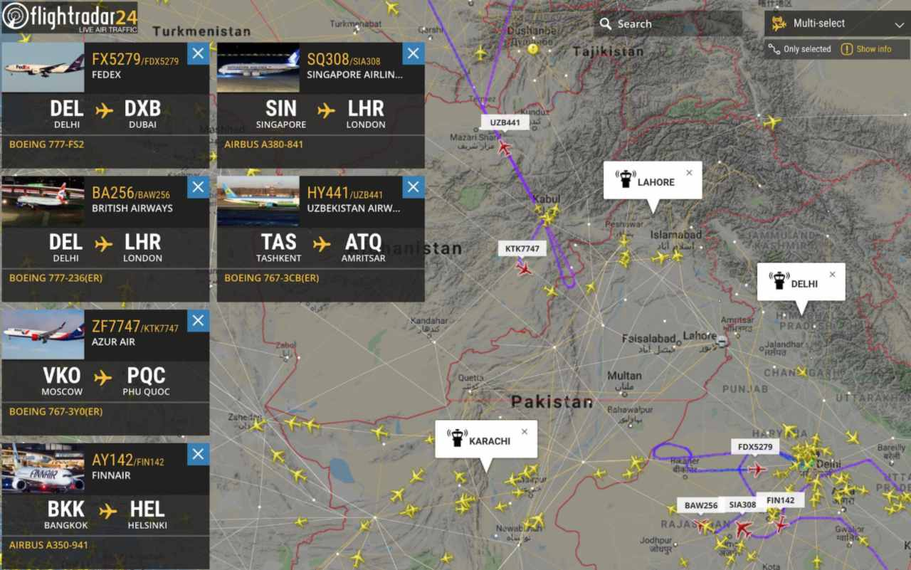 Commercial flight operations were suspended at Amritsar airport. Meanwhile, Vistara notified via Twitter that flights to and from Amritsar, Srinagar, Chandigarh and Jammu were put on hold due to airspace restrictions. Pakistan also shut down domestic and international commercial flights from airports in Islamabad, Lahore, Multan, Faisalabad and Sialkot. (Image: Flightradar)
