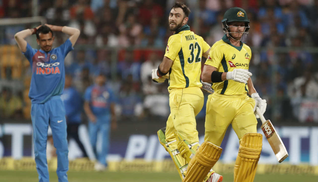 After early blows Glenn Maxwell and D'Arcy Short came together to steer the Australian chase through the middle overs. The two put together a 73-run stand before Short played a wild shot off a Vijay Shankar delivery to be caught by Rahul. Australia were 95/3 at the start of the 12th over. (Image: AP)