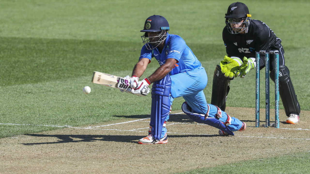 India recovered from its early jolts thanks to the efforts of Ambati Rayudu and Vijay Shankar. The two put together a 98-run partnership during the middle overs to steady the Indian innings. A horrible mix-up between the two batsmen in the 32nd over led to Shankar getting run-out. India were 116/5 when Shankar got out. (Image: AP)