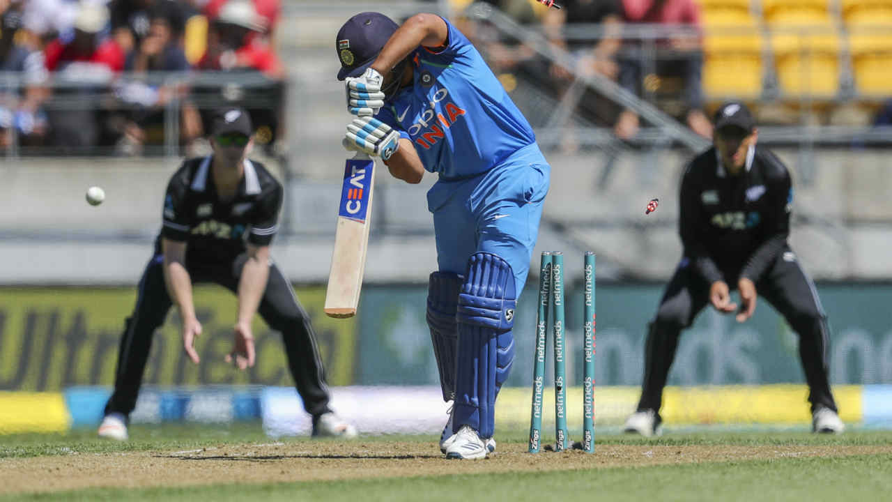 Indian skipper Rohit Sharma won the toss and opted to bat first in the fifth and final ODI of the series . There were 3 changes in the Indian playing XI. MS Dhoni, Mohammed Shami and Vijay Shankar coming in for Dinesh Karthik, Khaleel Ahmed and Kuldeep Yadav. Kane Williamson made just one change in the NZ squad as Colin Munro replaced injured Martin Guptill. India were off to a bad start as Sharma was clean bowled by Matt Henry in just the fifth over of the match. Sharma walked back after making just 2 with India 8/1. Henry also picked up the wicket of Shubman Gill (7) in the 7th over. (Image: AP)