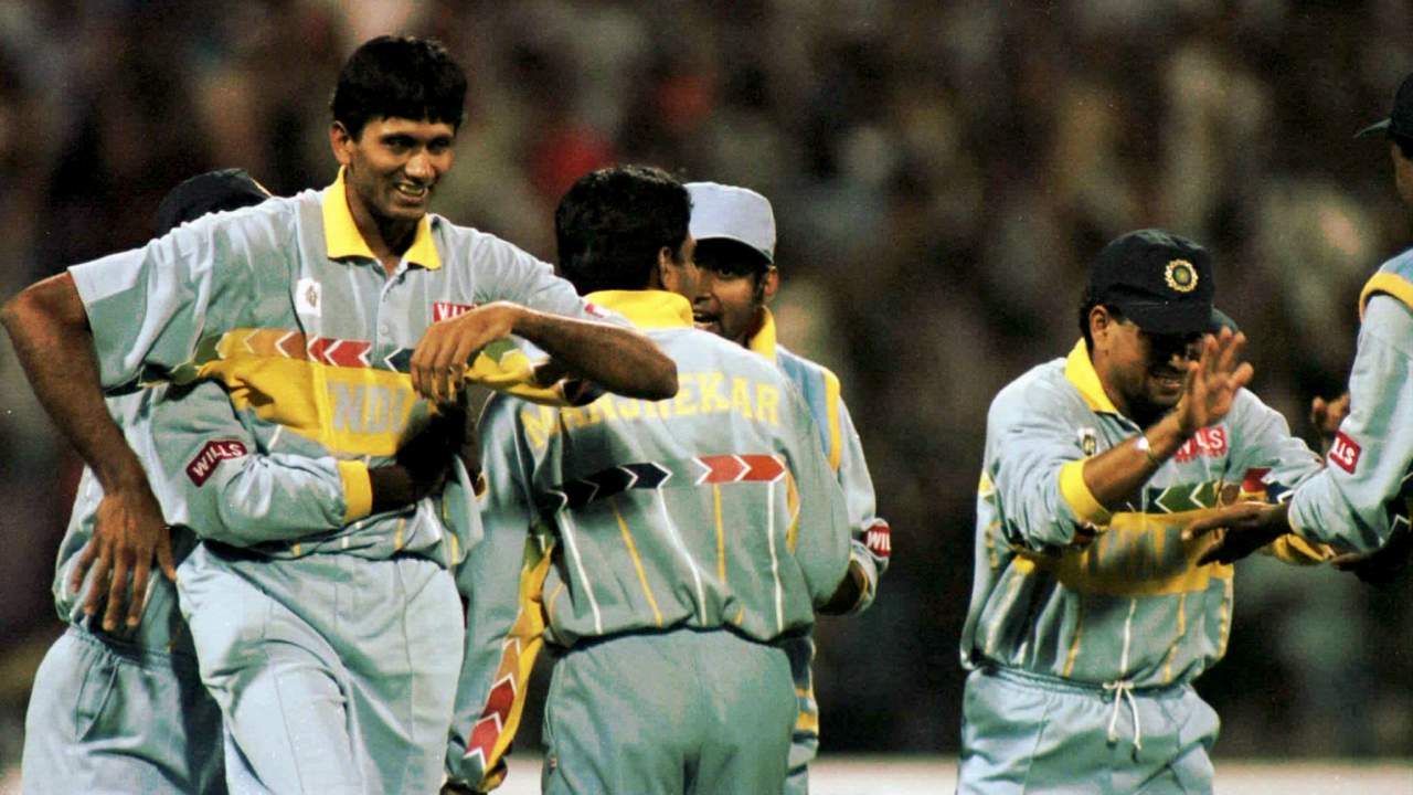 1996 Quarter Finals, India | Navjot Sidhu was the Man of the Match this time as he scored a fighting 93. Ajay Jadeja plundered 45 off 25 balls in the death overs to power India to 287/8 after 50 overs. Aamir Sohail and Saeed Anwar stitched an 84-run partnership for the first wicket as the stadium went silent. Anwar was undone by Javagal Srinath but the turning point came when Sohail pointed his bat towards Venkatesh Prasad and then to the boundary immediately after hitting a four. A fired up Prasad rattled the stumps with the very next ball and India dominated from then on to register a 39-run victory. (Image: Reuters)
