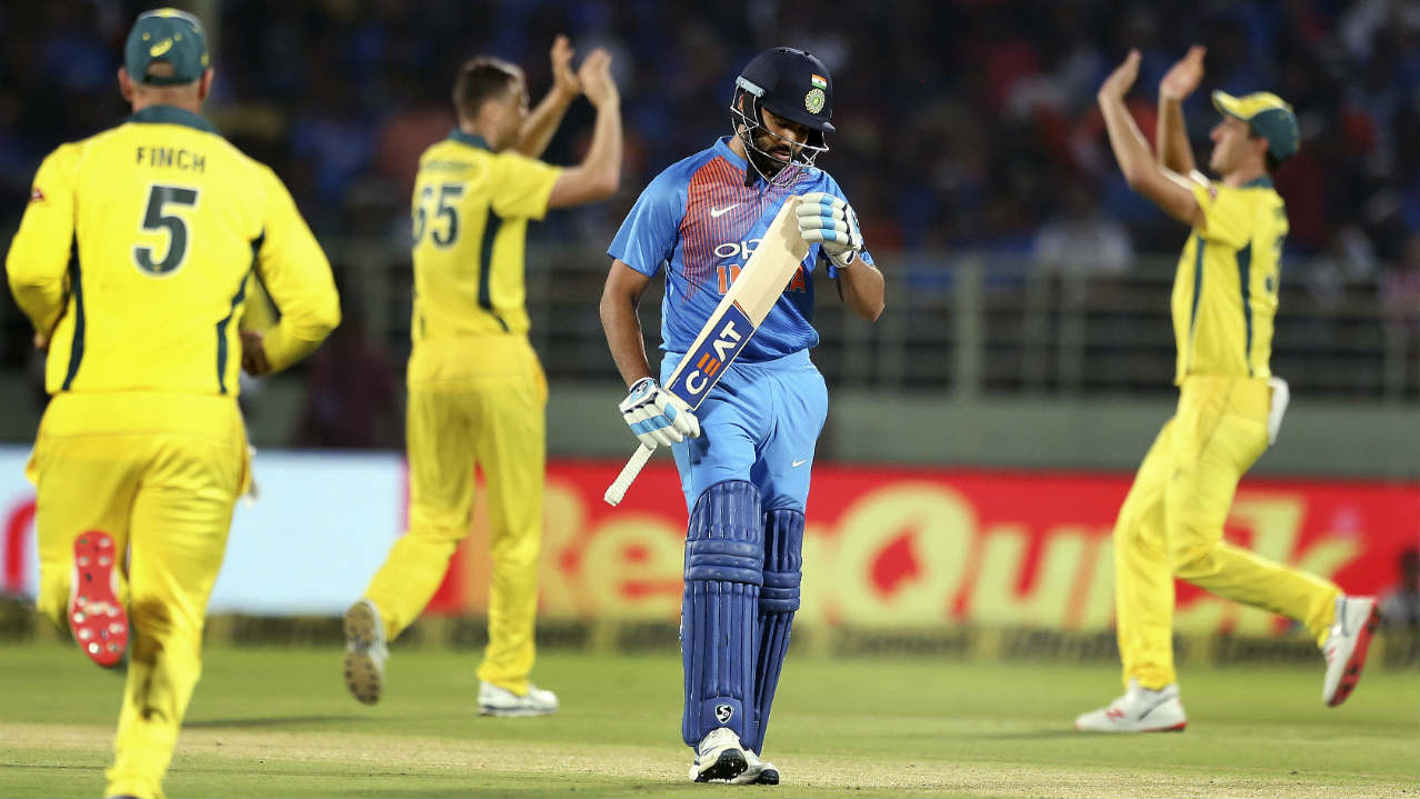 The Indian innings didn't get off to a great start as Rohit Sharma was dismissed in just the 3rd over. Sharma went for the paddle sweep off Jason Behrendorff but holed out to Adam Zampa at short fine leg. India were 14/1 at the fall of Sharma's wicket. (Image: AP)