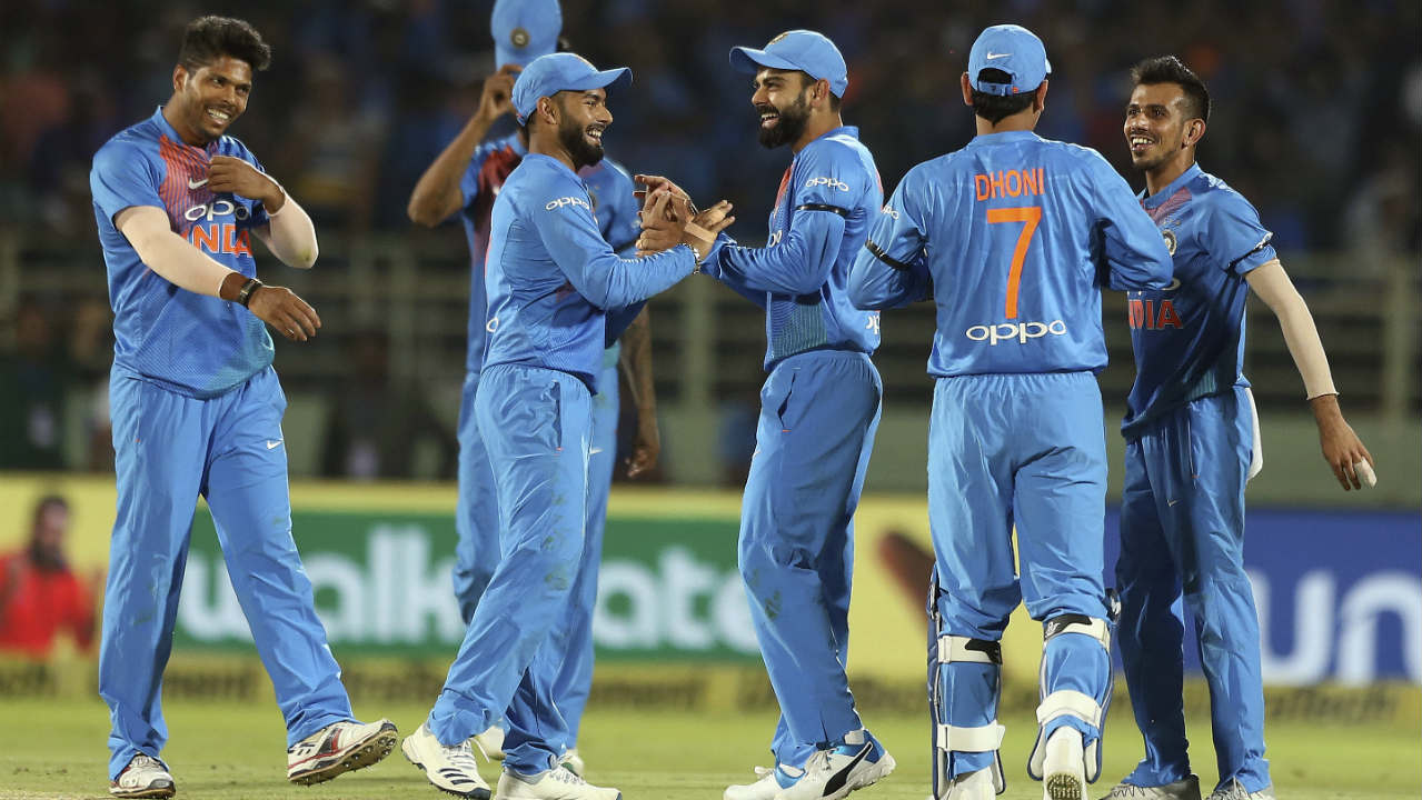 Chahal got Maxwell caught out in the 14th over and Short was run out soon after as Australia stumbled in the run-chase. Krunal Pandya then castled Ashton Turner in the 17th over to reduce the Aussies to 102/5. (Image: AP)