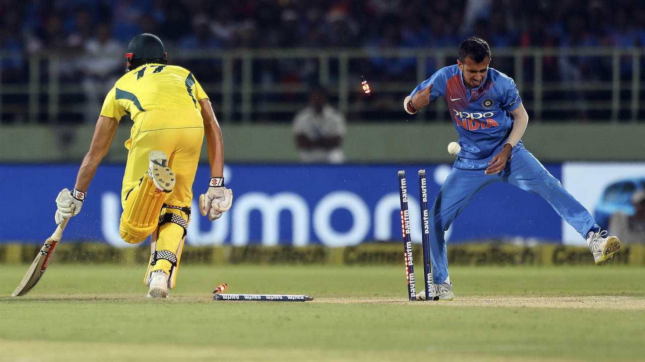 India received an early boost when they picked up 2 wickets off two consecutive deliveries. First Marcus Stoinis was run out by Umesh Yadav and Yuzvendra Chahal at the end of the 2nd over and Bumrah trapped Aaron Finch plumb in front of the wickets off the very first ball in the next over. (Image: AP)