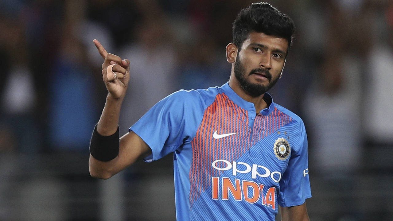 Khaleel Ahmed bowled an excellent final over where he castled both Mitchell Santner and Tim Southee while giving away just 5 runs. The brilliant bowling display from India limited New Zealand to just 158/8 after 20 overs. (Image: AP)